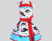 Ruffled Retro Apron - Ladies Black Hats with Red and Teal Woman Apron Full Kitchen Apron Pinup Apron Personalize or Monogram