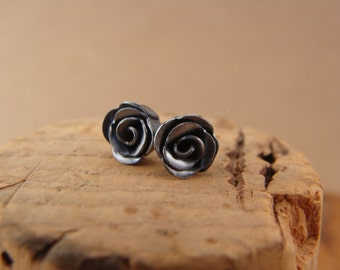 Tiny Sterling Silver Rose Post Earrings—Handcrafted Silver Rose Studs--Gift Under 25