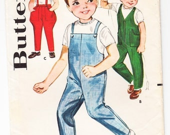 Vintage 1963 Butterick 2340 Sewing Pattern Boys' Overalls and Johdpurs Size 4