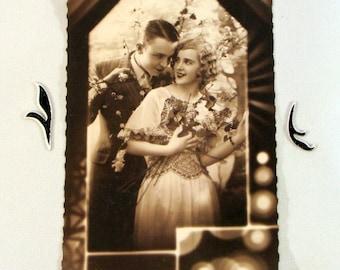 Vintage Real Photo Romantic Couple, Sepia Paris, 1936