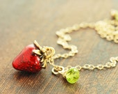 Strawberry Peridot Gold Necklace, Gemstone Charm Necklace, August Birthstone Jewelry, Rustic Fruit