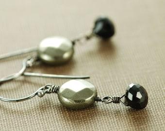 Gold and Black Gemstone Dangle Earrings in Sterling Silver, Pyrite Spinel Drop Earrings, Rustic Modern Handmade Jewelry