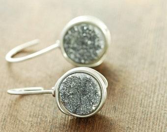 Sterling Silver Druzy Earrings, Druzy Drop Earrings, Modern Silver Drusy