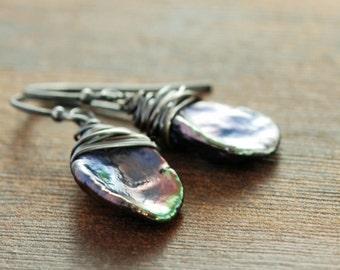 June Birthday Pearl Earrings, Peacock Keishi Pearl Dangle Earrings, Birthstone Jewelry, Modern Minimal Earrings