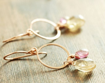 Topaz Rose Gold Hoop Earrings, Champagne Pink Gemstone Dangle Earrings, Birthstone Jewelry