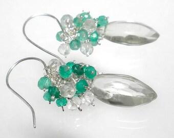 Green Amethyst Earrings, Gemstone Cluster Earrings Sterling Silver