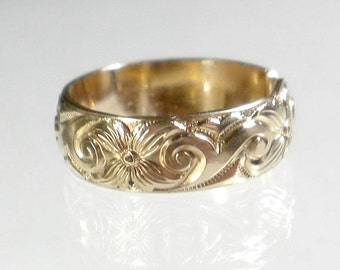 Gold Band Ring, Wide band ring, Adjustable Ring, Patterned Gold Ring