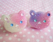 Glittery Galaxy Glow in the Dark Teddy Bear Resin Ring (PICK 1) Pastel Pink Lavender Kawaii Lolita Fairy Kei