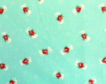 Yuwa Bows with Rose Centers on an Aqua Blue Cotton Fabric AT816879B
