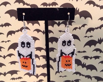 Ghost and pumpkin earrings