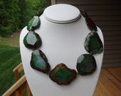 Forest Green Agate Gemstone Necklace with Swarovski Crystals