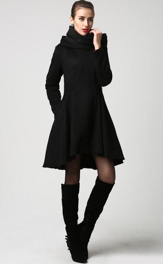 winter coatscoatsblack wool coatwoman coatwool by xiaolizi
