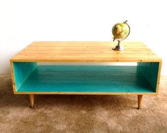 Handmade Coffee Table Mid Century Modern Turquoise (or custom color) and Summer Blonde Coffee Table MCM Furniture