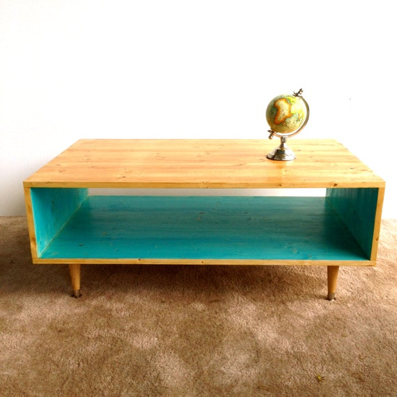 Colorful Modern Coffee Table: Handmade Coffee Table Mid Century Modern Turquoise Or Custom