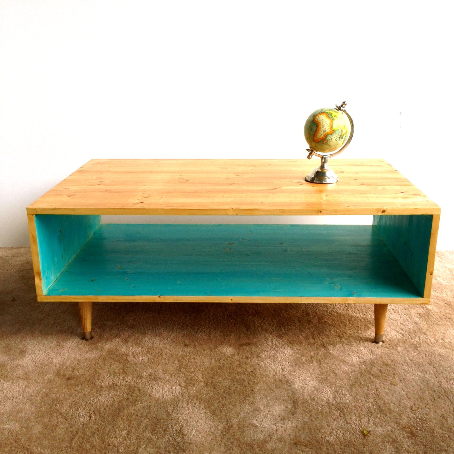 Mid Century Modern Coffee Table With Planter: Handmade Coffee Table Mid Century Modern Turquoise Or Custom