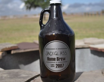 Amber Beer Growler 64oz.  Reusable Custom Etched for Craft Brews, Best Man, Weddings by Jackglass on Etsy.com