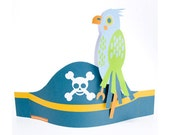 Pirate Party Hats / eye patches / parrot (Printable PDF)