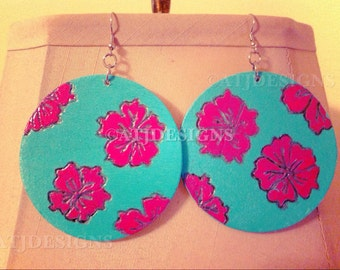 Wood Earrings: Pink hibiscus earrings