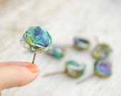 6 Green and Turquoise Floral hair pins --- Hair Clip for Brides, Bridesmaids, Flower Girls --- Tagt Team
