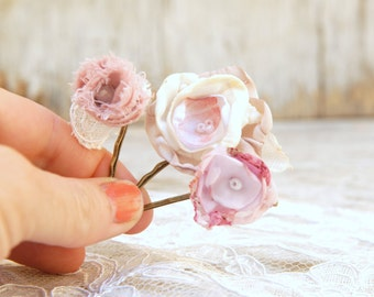 Wedding Hair Flowers Small Flower Clips --- Bridal Hair Accessories, Cream Blush Rustic Bridal Hair Clips (3 pcs)