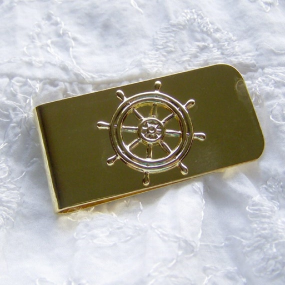 Ships Wheel Money Clip, Nautical Brass Money Clip, Sailing Money Clip, Boating Money Clip, Money Holder, Men's Wallet, Money Clip Wallet