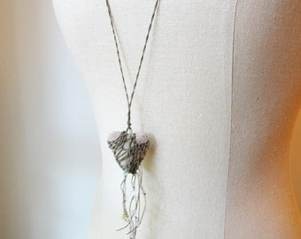 mY hEaRT bELoNGS tO YoU,  Rustic Heart Necklace, Natural Stone,  Khaki Olive, Asymmetrical ht2
