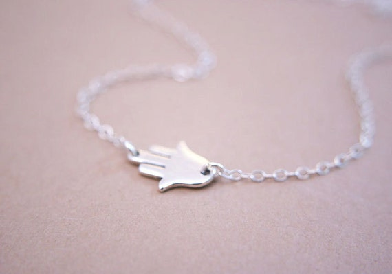 Tiny Sideways Hand of Hamsa Necklace Sterling Silver
