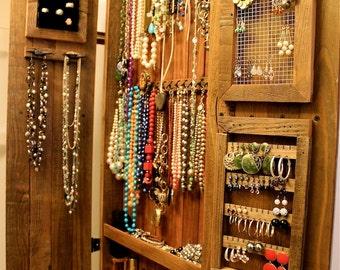 Armoire - Necklace Holder - Jewelry Organizer - Storage Cabinet - Necklace - Cabinet - Wood - Wooden - Handmade - Furniture - 44 x 20 x 4.5