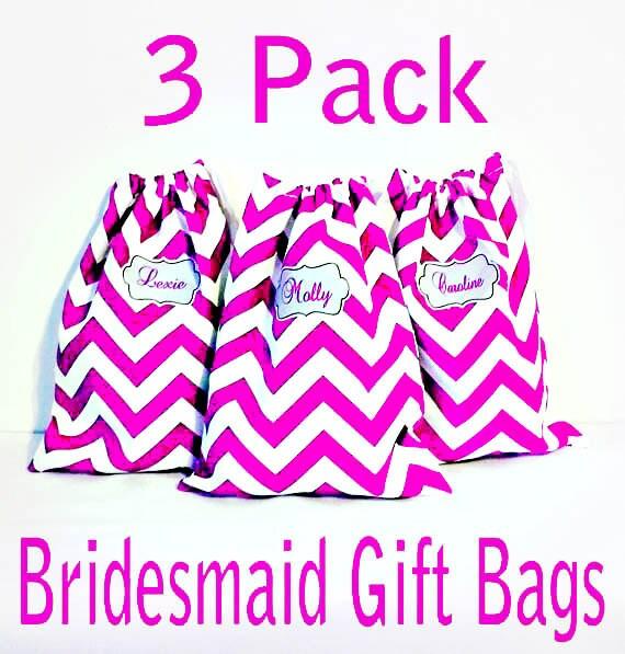 Bridal Party Gifts Set of 3, Golf Shoe Bag, Lingerie Bag, Brides Maid Gift, Overnight Bag, Drawstring Bag,  11 x 13 Bridesmaid Gift Bag