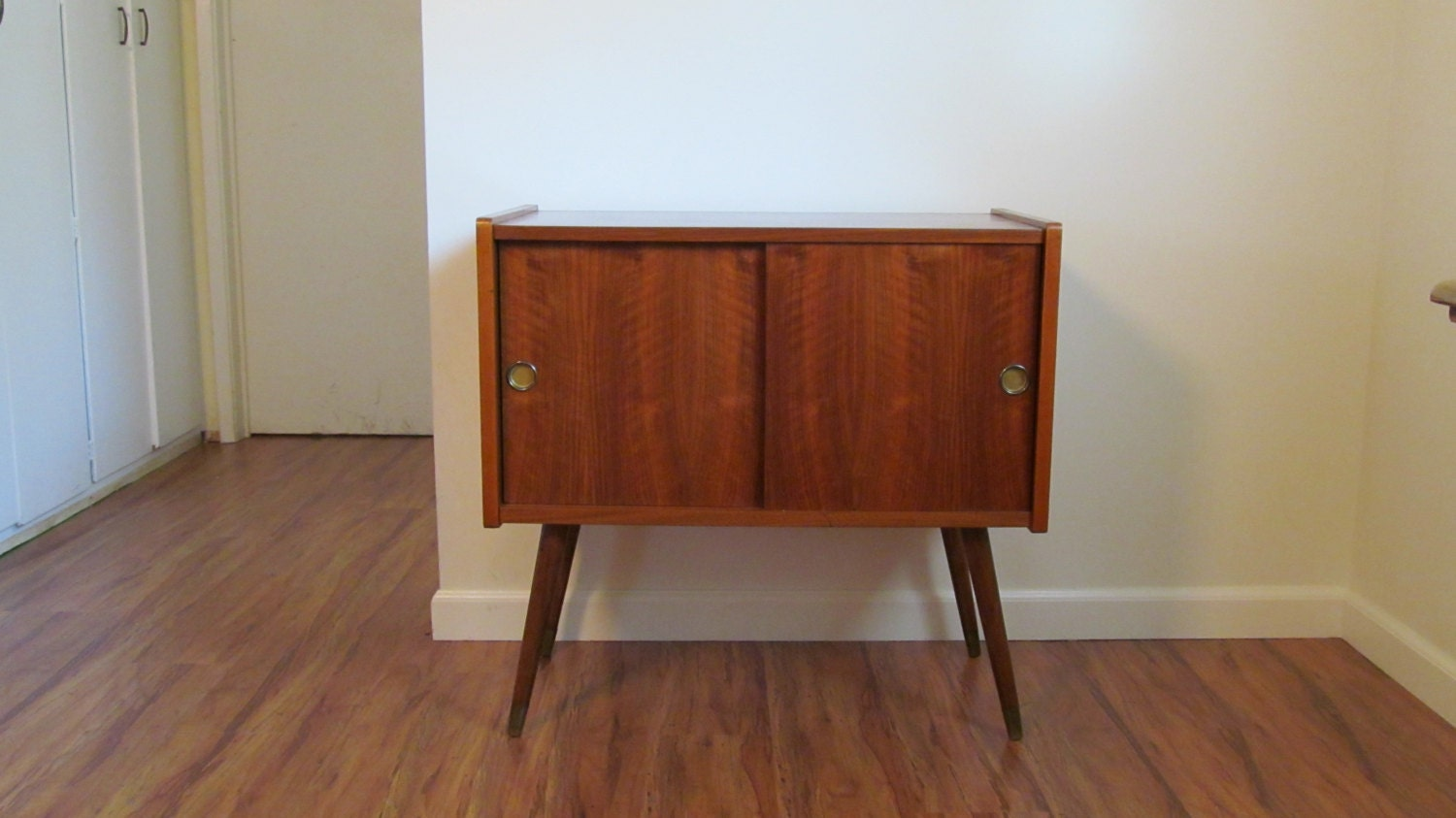 Vintage Record Cabinet Mid Century Record Storage Table
