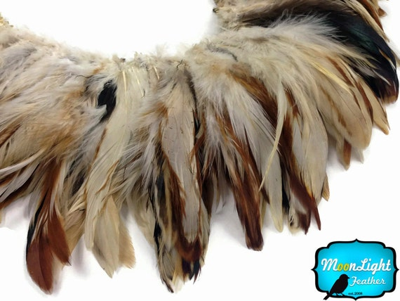Rooster Feathers, 4 Inch Strip - NATURAL CREAM and RED Strung Rooster Schlappen feathers : 714