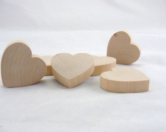 """6 Chunky wooden hearts 2 inch (2"""") wide 1/2"""" thick unfinished wood hearts diy"""