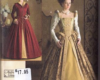 Elizabethan Costume pattern Simplicity 3782 Adult sizes 6, 8, 10, 12