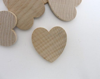 """25 Wooden hearts 1 1/4 inch wide 1/8 inch thick 1.25"""" wood heart unfinished diy"""