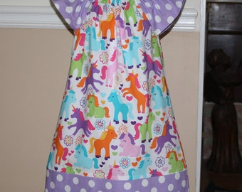 Unicorn peasant dress with Pillowcase dress style bottom with flutter sleeves toddler girls dresses