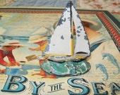 SALE- Antique painted metal sailboat, decor, 1940s, 1930s, boat, nautical