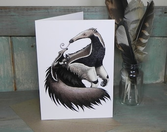 Anteaters Illustration Greeting Card - 280gsm White Card 177 x 127mm Blank Inside with Brown Recycled Envelope