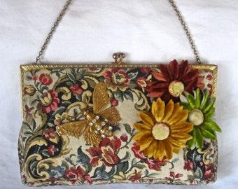 Vintage French Tapestry Roses, Velvet Daisy Purse, Rhinestone Butterfly, France