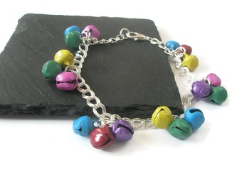 Anklet Jingle bells Charm Ankle chain Silver double curb Red Blue Pink Yellow Purple Green Jewelry