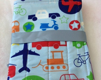 Handmade Crayon Travel Case Holder girls/boys, holds crayons and paper, blue, cars, sheep
