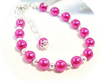 Bracelet, Pink, Pink Bracelet, Kids Bracelet, Toddler Bracelet, Pink Jewelry, Kids Jewelry, Hot Pink, Girls Jewelry