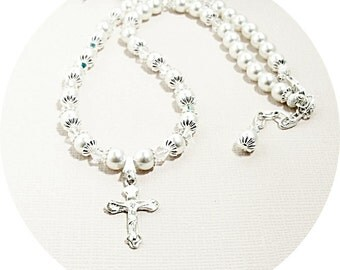 First Communion, Cross Necklace, Crucifix, Pearl Necklace, Kids Jewelry, Flower Girl Jewelry,