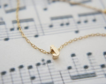 """Gold Letter, Alphabet, Initial  """"j"""" necklace, birthday gift, lucky charm"""