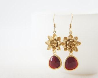 Gold lotus dark red earrings -  bridal, wedding, bridesmaids, everyday