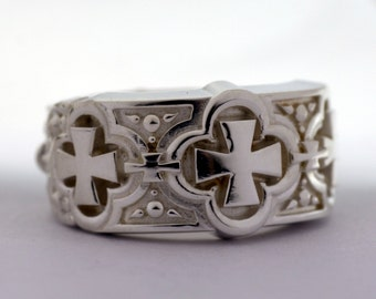 Wedding Band with Crosses, Renaissance Wedding Band No.5, Band , Sterling Silver Ring, Wide Band