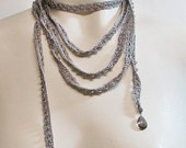 Gray Necklace Crystal Bead and Silk Crocheted Lariat