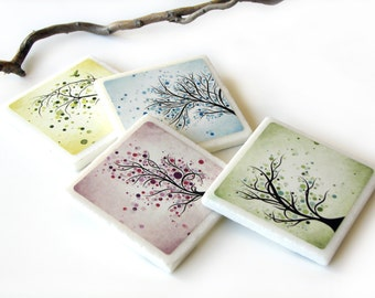 Pastel Abstract Tree Tile Coasters, Purple, Blue, Yellow, Pink, Nature Table Decor, Whimsical Tree Set of 4