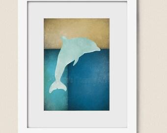 Tropical Wall Art, Blue Beach House Decor, 5 x 7 Dolphin Art Print  (84)