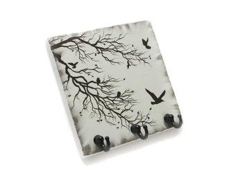 Bare Tree Key Rack Jewelry Organizer, Vintage White Home Decor, Wall Key Holder, Key Hook Hanger, Birds in Tree (48)