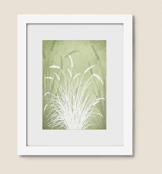 Wall Decor Green : Sage green grass art print living room home wall decor